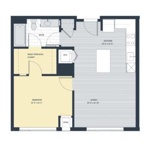 One Bedroom 1A Floor Plan