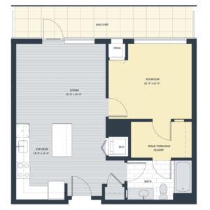 One Bedroom 1B Floor Plan