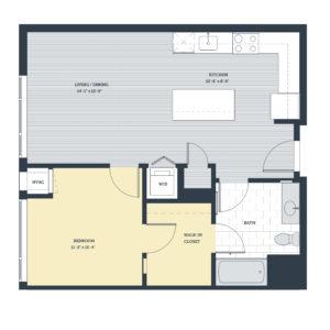 One Bedroom 1D Floor Plan