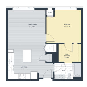One Bedroom 1E Floor Plan