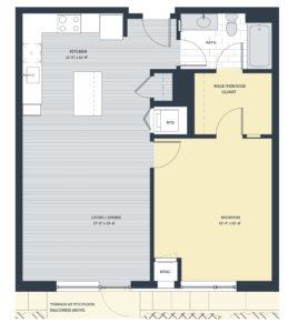 One Bedroom 1E3 Floor Plan