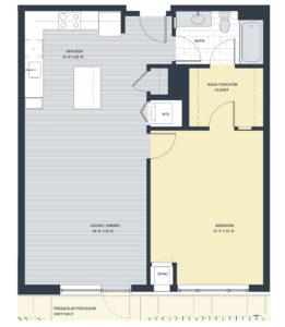 One Bedroom 1E4 Floor Plan