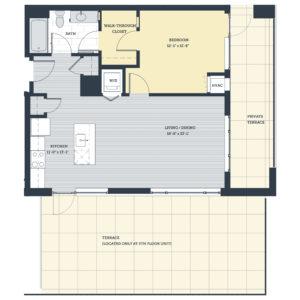 One Bedroom 1G Floor Plan