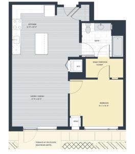 One Bedroom 1H Floor Plan