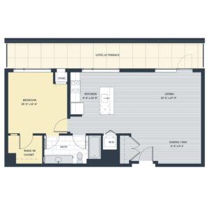 One Bedroom 1J Floor Plan