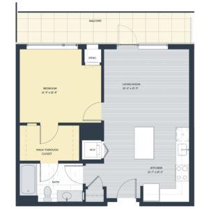 One Bedroom 1K Floor Plan