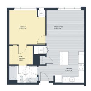 One Bedroom 1L Floor Plan