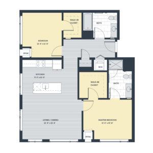 Two Bedroom 2A Floor Plan