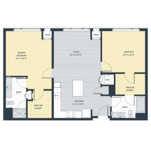 Two Bedroom 2D Floor Plan