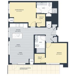 Two Bedroom 2F Floor Plan