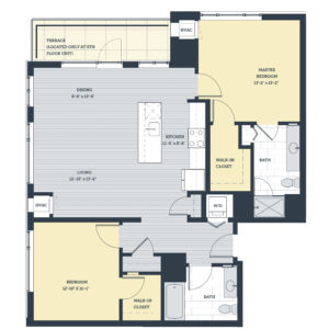 Two Bedroom 2K Floor Plan