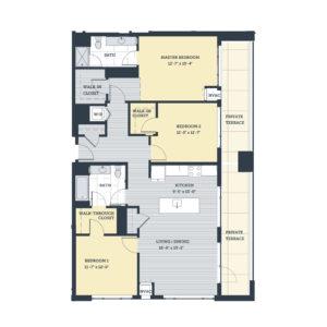 Three Bedroom 3A Floor Plan