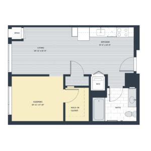 One Bedroom Open Concept OC Floor Plan