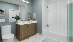 Modern bathroom with marble flooring and countertops