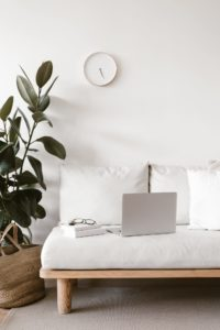 Sofa, plant, and clock on a wall